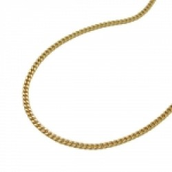 NECKLACE, CURB CHAIN, 2X DIAMOND CUT, 8K GOLD, 38CM