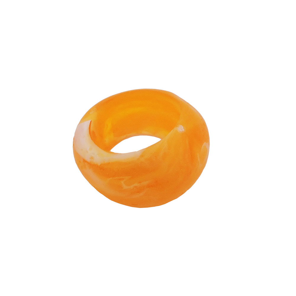 Tuchring 28x19mm Kunststoff Ringperle unrund 17mm-Loch gelb matt