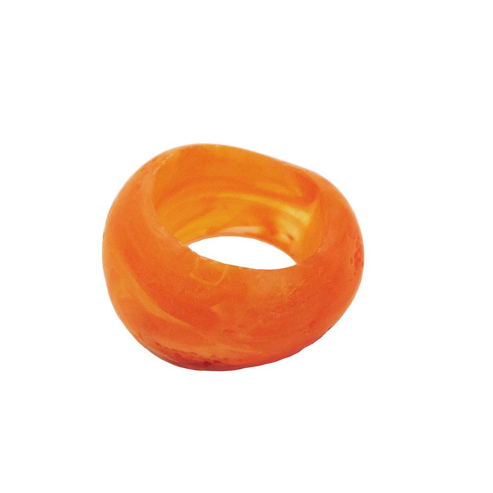 Tuchring 28x19mm Kunststoff Ringperle unrund 17mm-Loch orange matt