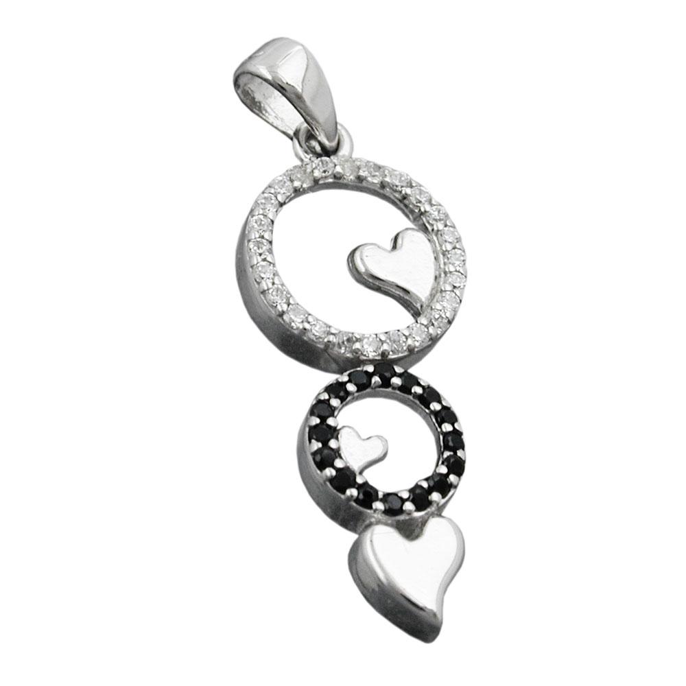 Anhänger 22x10mm Herzen Zirkonias weiß schwarz rhodiniert Silber 925