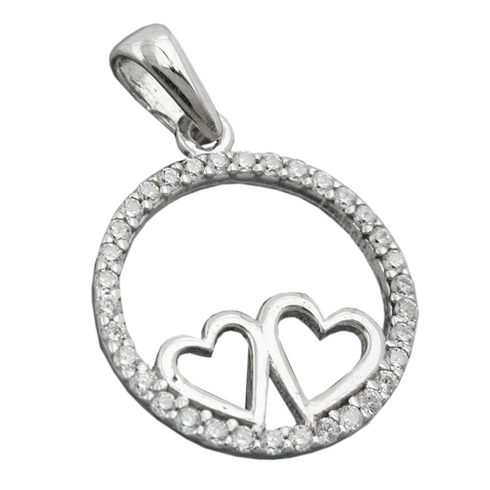 Anhänger 14mm zwei Herzen mit Zirkonias rhodiniert Silber 925