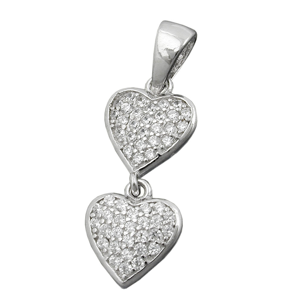 Anhänger 20x8mm zwei Herzen mit Zirkonias rhodiniert Silber 925
