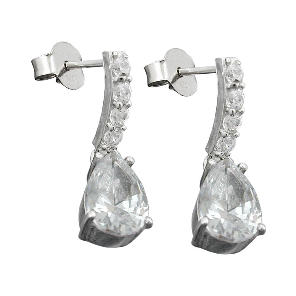 Stecker 21x6mm Zirkonias weiß rhodiniert Silber 925