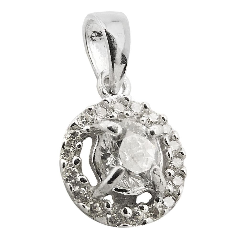 Anhänger 14mm Blume mit Zirkonias glänzend rhodiniert Silber 925