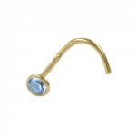 Nasenstecker 2,5mm synth. Aquamarin 18Kt GOLD