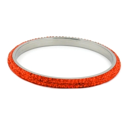 Armreif 6,5mm 4-reihig Glassteine rot-orange