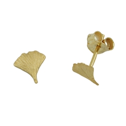 Ohrstecker Ohrring 7mm Ginkgoblatt matt 9Kt GOLD - 430060