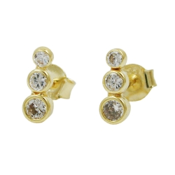 Ohrstecker Ohrring 9x3mm 3x Zirkonias 9Kt GOLD