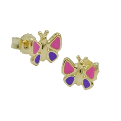 Stecker 7x8mm Schmetterling pink-lila 9Kt GOLD