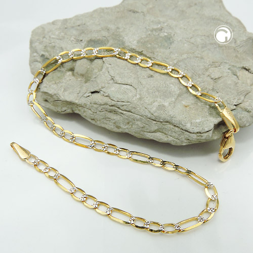 Armband 2,7mm Figaro-Panzer bicolor 14Kt GOLD 19cm